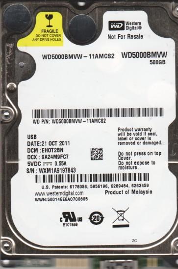 WD5000BMVW-11AMCS2, DCM EHOT2BN, Western Digital 500GB USB 2.5 Hard Drive