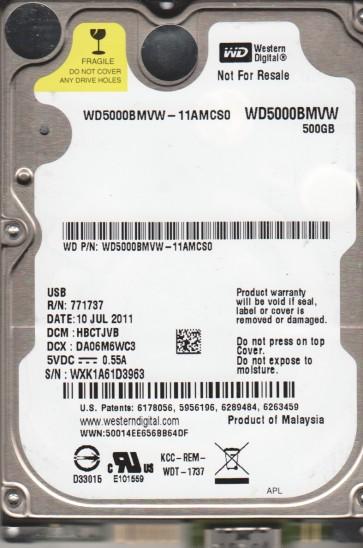 WD5000BMVW-11AMCS0, DCM HBCTJVB, Western Digital 500GB USB 2.5 Hard Drive