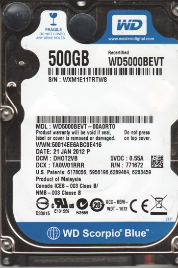 WD5000BEVT-00A0RT0, DCM DHOT2VB, Western Digital 500GB SATA 2.5 Hard Drive