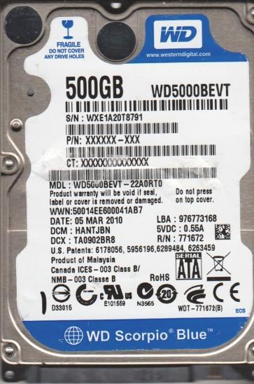 WD5000BEVT-22A0RT0, DCM HANTJBN, Western Digital 500GB SATA 2.5 Hard Drive