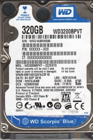 WD3200BPVT-22ZEST0, DCM HHCVJANB, Western Digital 320GB SATA 2.5 Hard Drive