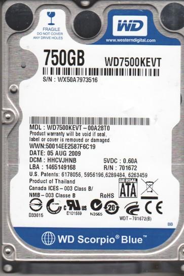 WD7500KEVT-00A28T0, DCM HHCVJHNB, Western Digital 750GB SATA 2.5 Hard Drive