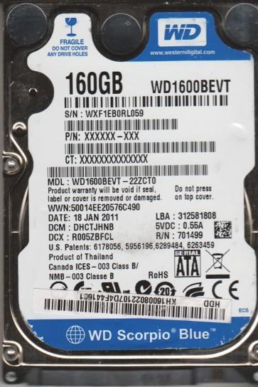 WD1600BEVT-22ZCT0, DCM DHCTJHNB, Western Digital 160GB SATA 2.5 Hard Drive
