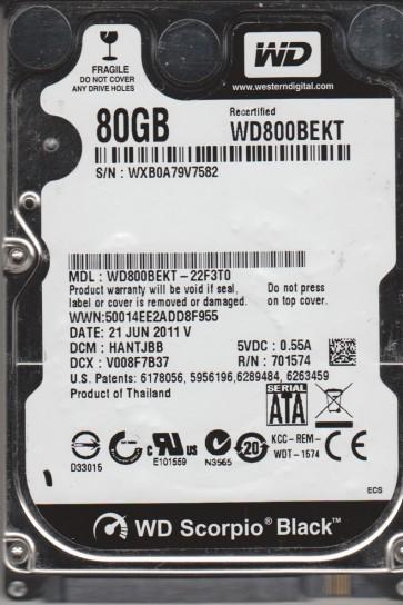 WD800BEKT-22F3T0, DCM HANTJBB, Western Digital 80GB SATA 2.5 Hard Drive