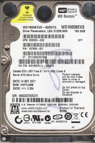 WD1600BEVS-60RST0, DCM FAYTJABB, Western Digital 160GB SATA 2.5 Hard Drive