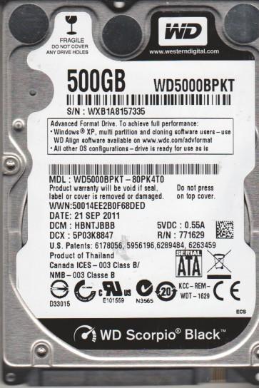 WD5000BPKT-80PK4T0, DCM HBNTJBBB, Western Digital 500GB SATA 2.5 Hard Drive