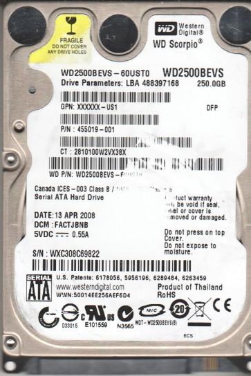 WD2500BEVS-60UST0, DCM FACTJBNB, Western Digital 250GB SATA 2.5 Hard Drive