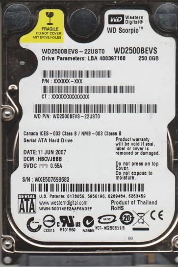WD2500BEVS-22UST0, DCM HBCVJBBB, Western Digital 250GB SATA 2.5 Hard Drive