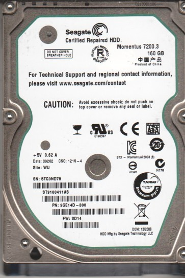 ST9160411AS, 5TG, WU, PN 9GE14D-300, FW SD14, Seagate 160GB SATA 2.5 Hard Drive