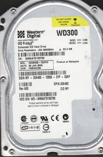 WD300EB-75CPF0, DCM HSBANV2A, Western Digital 30GB IDE 3.5 Hard Drive