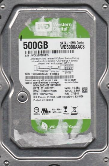 WD5000AACS-61M6B2, DCM HHNNHT2CHN, Western Digital 500GB SATA 3.5 Hard Drive