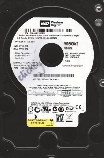 WD5000YS-01MPB1, DCM HCACAJAHB, Western Digital 500GB SATA 3.5 Hard Drive