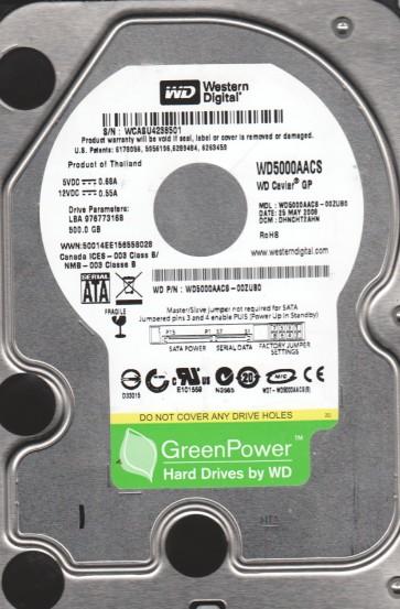 WD5000AACS-00ZUB0, DCM DHNCHT2AHN, Western Digital 500GB SATA 3.5 Hard Drive