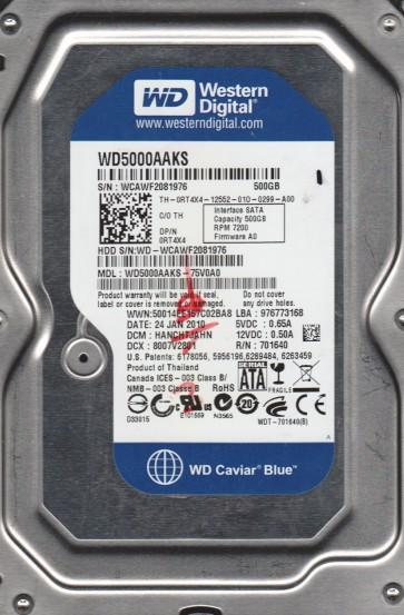 WD5000AAKS-75V0A0, DCM HANCHTJAHN, Western Digital 500GB SATA 3.5 Hard Drive