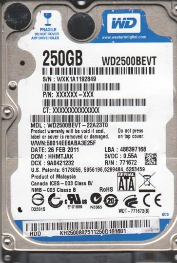 WD2500BEVT-22A23T0, DCM HHMTJAK, Western Digital 250GB SATA 2.5 Hard Drive