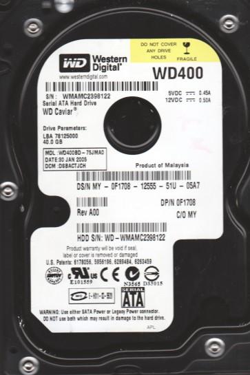 WD400BD-75JMA0, DCM DSBACTJCH, Western Digital 40GB SATA 3.5 Hard Drive