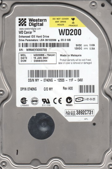 WD200BB-75AUA1, DCM DSBBEVHH, Western Digital 20GB IDE 3.5 Hard Drive
