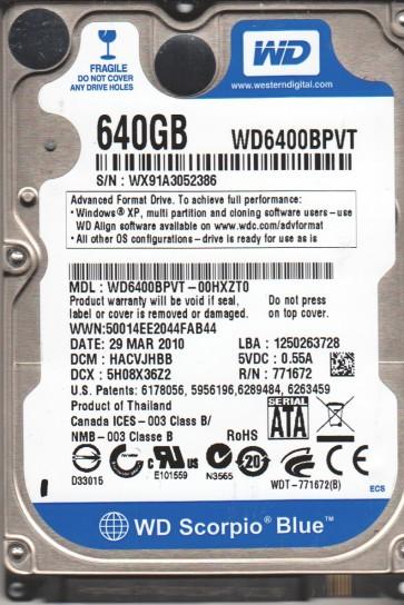 WD6400BPVT-00HXZT0, DCM HACVJHBB, Western Digital 640GB SATA 2.5 Hard Drive