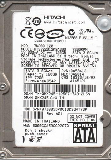HTS722012K9A300, PN 0A53413, MLC DA2014, Hitachi 120GB SATA 2.5 Hard Drive