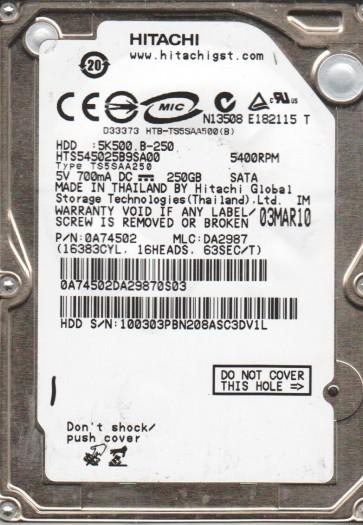 HTS545025B9SA00, PN 0A74502, MLC DA2987, Hitachi 250GB SATA 2.5 Hard Drive