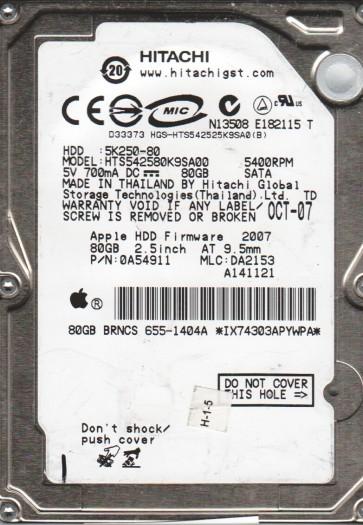 HTS542580K9SA00, PN 0A54911, MLC DA2153, Hitachi 80GB SATA 2.5 Hard Drive
