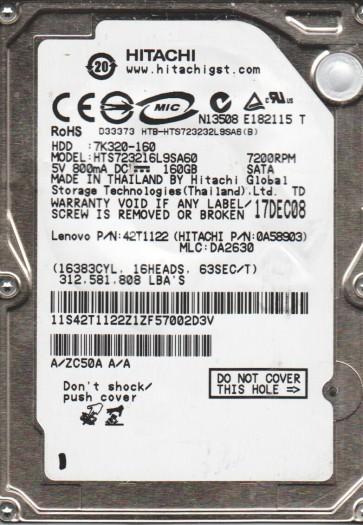 HTS723216L9SA60, PN 42T1122, MLC DA2630, Hitachi 160GB SATA 2.5 Hard Drive