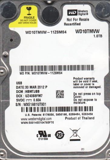 WD10TMVW-11ZSMS4, DCM HBMTJBB, Western Digital 1TB USB 2.5 Hard Drive