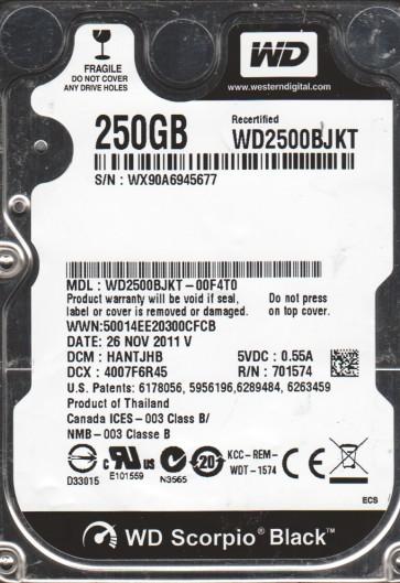WD2500BJKT-00F4T0, DCM HANTJHB, Western Digital 250GB SATA 2.5 Hard Drive