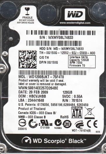 WD1200BJKT-75F4T0, DCM HBCVJHBB, Western Digital 120GB SATA 2.5 Hard Drive