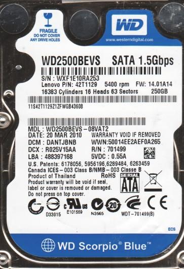 WD2500BEVS-08VAT2, DCM DANTJBNB, Western Digital 250GB SATA 2.5 Hard Drive