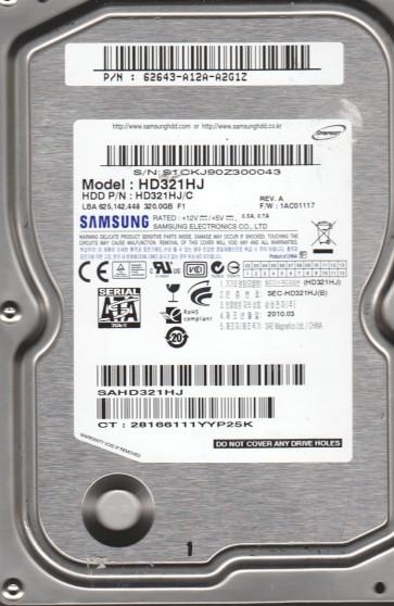 HD321HJ, FW 1AC01117, A, Samsung 320GB SATA 3.5 Hard Drive