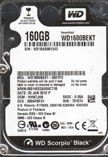 WD1600BEKT-00F3T0, DCM HHNTJHB, Western Digital 160GB SATA 2.5 Hard Drive