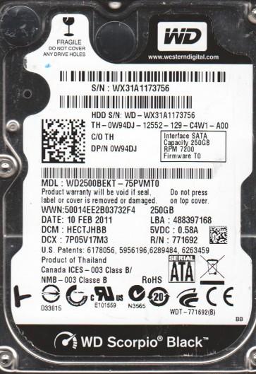 WD2500BEKT-75PVMT0, DCM HECTJHBB, Western Digital 250GB SATA 2.5 Hard Drive