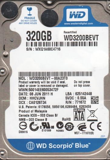 WD3200BEVT-00A23T0, DCM HHCVJHN, Western Digital 320GB SATA 2.5 Hard Drive