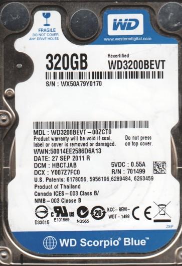 WD3200BEVT-00ZCT0, DCM HBCTJAB, Western Digital 320GB SATA 2.5 Hard Drive
