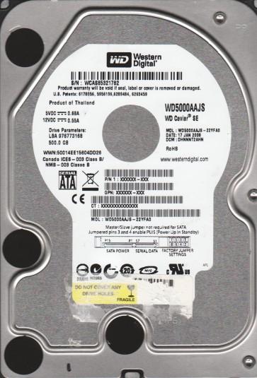 WD5000AAJS-22YFA0, DCM DHNNNT2AHN, Western Digital 500GB SATA 3.5 Hard Drive