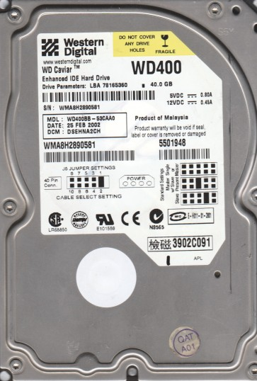 WD400BB-53CAA0, DCM DSEHNA2CH, Western Digital 40GB IDE 3.5 Hard Drive