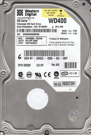 WD400BB-75CAA0, DCM HSFHNA2CH, Western Digital 40GB IDE 3.5 Hard Drive