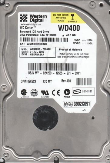 WD400BB-75CAA0, DCM HSEANA2AA, Western Digital 40GB IDE 3.5 Hard Drive