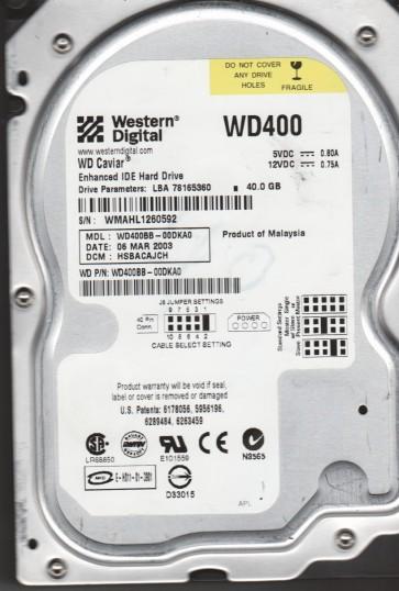WD400BB-00DKA0, DCM HSBACAJCH, Western Digital 40GB IDE 3.5 Hard Drive