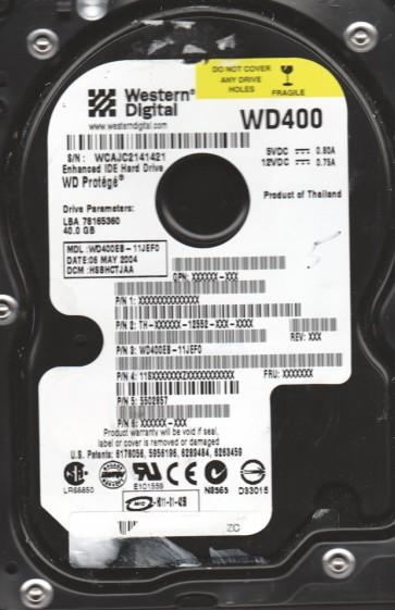 WD400EB-11JEF0, DCM HSBHCTJAA, Western Digital 40GB IDE 3.5 Hard Drive
