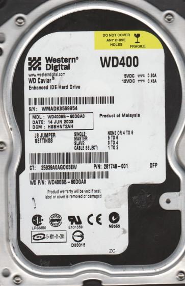 WD400BB-60DGA0, DCM HSBHNT2AH, Western Digital 40GB IDE 3.5 Hard Drive