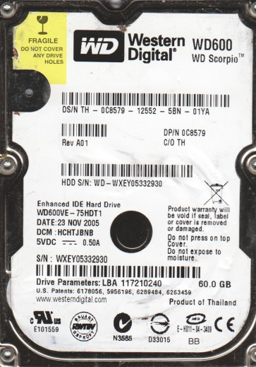 WD600VE-75HDT1, DCM HCHTJBNB, Western Digital 60GB IDE 2.5 Hard Drive