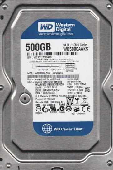 WD5000AAKS-00UU3A0, DCM HANNNTJAGN, Western Digital 500GB SATA 3.5 Hard Drive