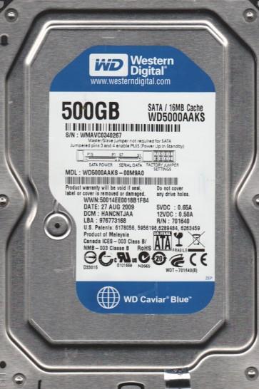 WD5000AAKS-00M9A0, DCM HANCNTJAA, Western Digital 500GB SATA 3.5 Hard Drive
