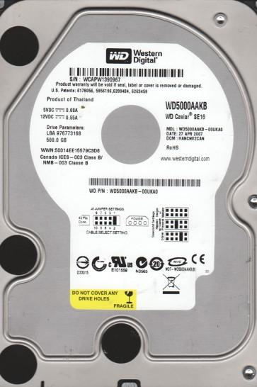 WD5000AAKB-00UKA0, DCM HANCNV2CAN, Western Digital 500GB IDE 3.5 Hard Drive