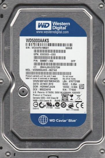 WD5000AAKS-60Z1A0, DCM HGRNNTJAGN, Western Digital 500GB SATA 3.5 Hard Drive