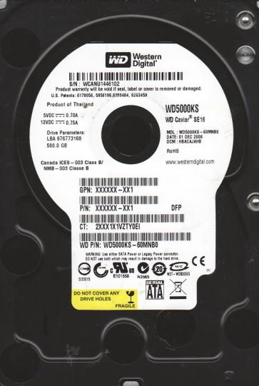 WD5000KS-60MNB0, DCM HBACAJAHB, Western Digital 500GB SATA 3.5 Hard Drive