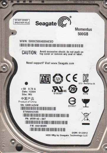 ST9500424AS, 5WR, PN 9RW143-567, FW 0001BSM1, Seagate 500GB SATA 2.5 Hard Drive