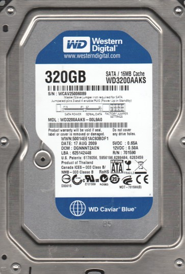 WD3200AAKS-00L9A0, DCM DGNNNT2AEN, Western Digital 320GB SATA 3.5 Hard Drive